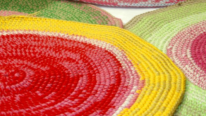 alfombra redonda crochet - PUERTA AL SUR a medida. Diseños personalizados.