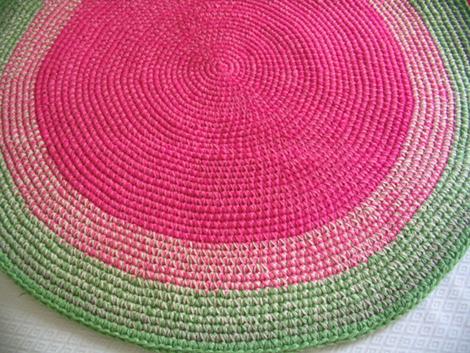 alfombra rosayverde - Alfombra redonda