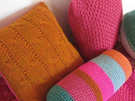 almohadones dos agujas deco tejido - Almohadón cuadrado