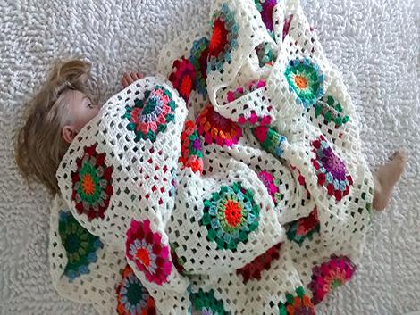 manta crochet cuadrados medianos - Manta cuadrado mediano