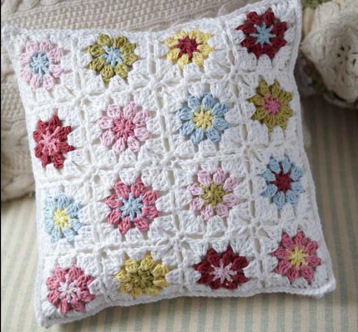 crochet almohadon granny - Cortinas con flores tejidas al crochet