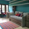 alfombra rayas crochet 100x100 - Alfombra cuadrada a rayas varios colores